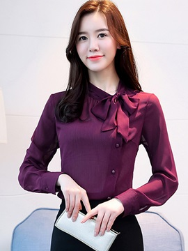 Bow Tie Front Loose Stand Collar Women's Blouse