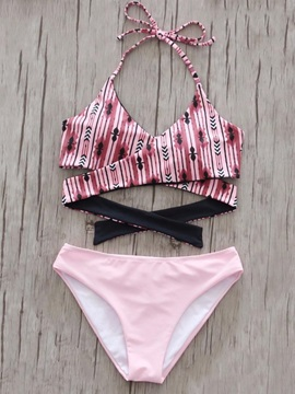 Halter Lace-Up Floral 2-Pcs Bikini Set