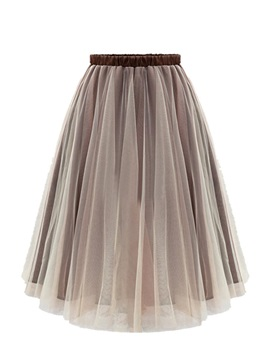 High Waist Knee-Length Plain Mesh Women's Skirt