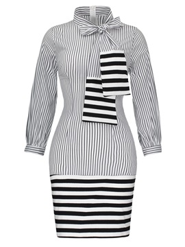 Tidebuy Stripe Tie-Neck Long Sleeve Women's Bodycon Dress