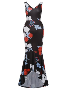 Floral Print Pullover Color Block Women's Bodycon Dress