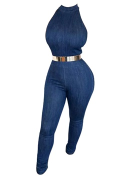 Denim Plain Skinny Women's Jumpsuit