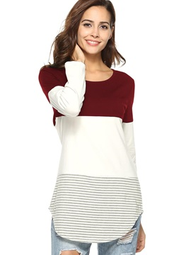 Color Block Mid-Length Women's T-shirt