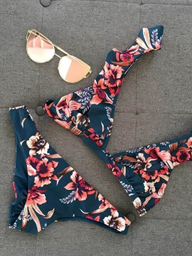 Dark Blue Floral Falbala Cute Bikini Suits