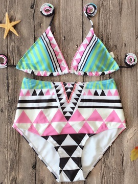 Lace-Up Color Block Geometric Print Bikini Set