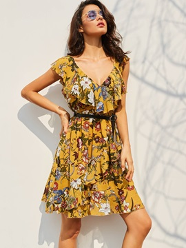 Tidebuy Polyester Falbala Print Women's Casual Dress
