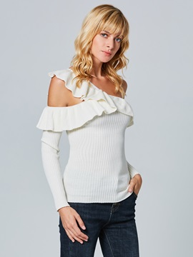 Oblique Collar Falbala Hollow Women's Knitwear