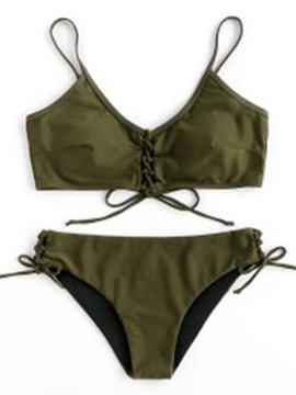Plain Halter Knot Front Bikini Bathing Suit