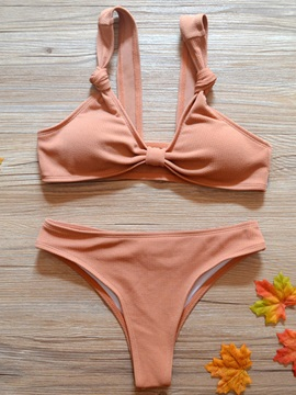 Tie Front Cute Plain Bikini Bathing Suit