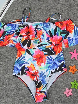 Tropical Floral Print One Piece Spaghetti Strap Bathing Suit