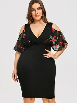Plus Size Hollow Floral Print Women's Bodycon Dress
