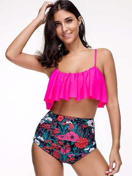 Floral High Waist Wave Cut Pleated Bikini Bathing Suit
