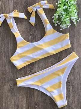 Stripe Bowknot Lace-Up Cute Bikini Bathing Suit