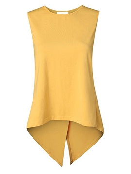 Plain Asymmetric Mid-Length Women's Tank Top