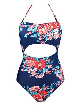 Lace-Up Floral Print Hollow One Piece Bathing Suit