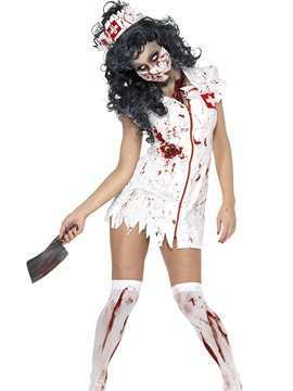 Paint Splatters Zipper Bloody Mary Nurse Costume