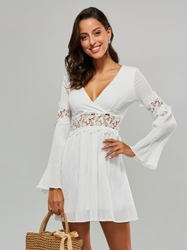 White Patchwork Bell Sleeve Women's Day Dress