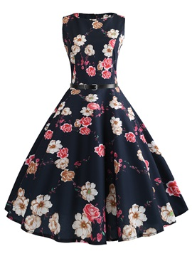 Tidebuy Floral Round Neck Knee-Length Women's Dress