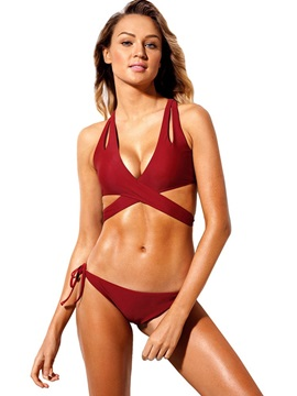 Red Hollow Lace-Up Sexy Bikini Set