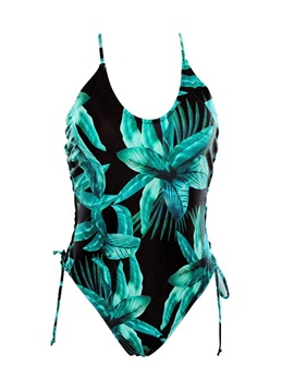 Plant Print Lace-Up One Piece Bathing Suit