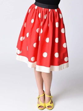 Polka Dots Print Sweet Women's Mid Length Skirt
