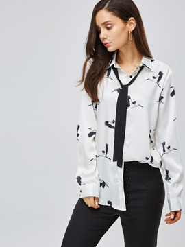 Tie Neck Animal Print Loose Fit Women's Shirt