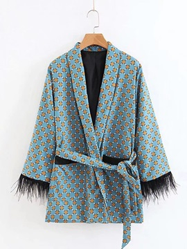 Fall Floral Tie Waist Patchwork Women's Cape