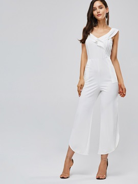 Ruffled Asymmetric Straight Casual Women's Jumpsuit