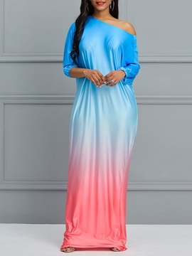 Pullover Milk Fiber Gradient Women's Maxi Dress