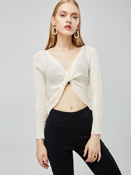 Solid Color Twist Front Women's Cropped Sweater