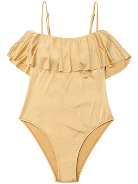 Plain Pleated Falbala One Piece Bathing Suit