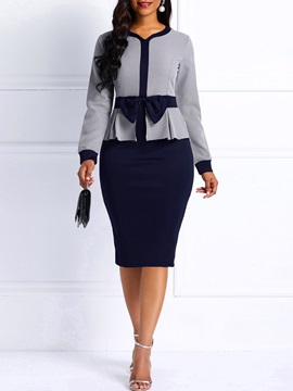 Long Sleeve Color Block Bowknot Women's Bodycon Dress