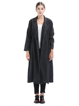 Elastic Waist Plain Women's Long Trench Coat