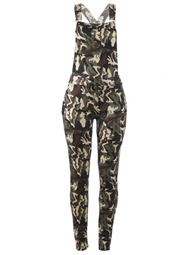 Camo Mid Waist Full Length Cross Women's Overalls