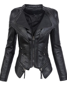 Slim Zipper Short Lapel Women's PU Jacket