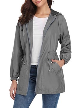 Sports Plain Thin Hooded Outdoor Women's Trench Coat