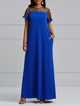 Embroidery Mesh England Women's Maxi Dress