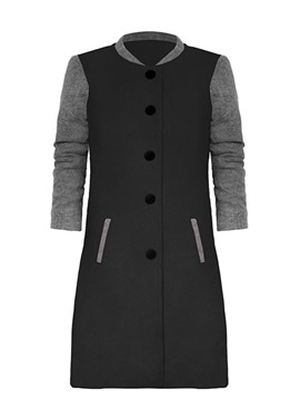 Single-Breasted Pockets Stand Collar Women's Overcoat