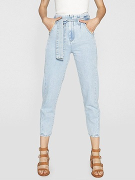 Light Blue Elegant Washable Women's Cropped Jeans
