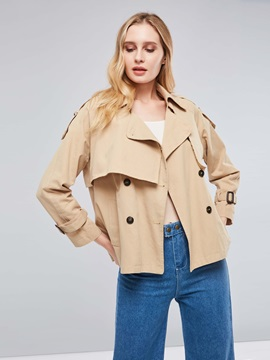 Notched Lapel Short Button Up Women's Trench Coat