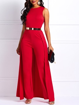 Sleeveless Plain Women's Jumpsuit (Without Belt)