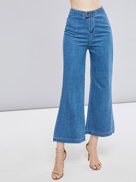 Plain Wide Legs High Waist Women's Cropped Jeans
