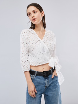 Deep V-Neck Hollow Out Tie Front Women's Blouse