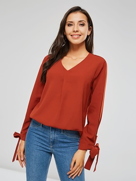 Loose V Neck Long Sleeve Women's Blouse