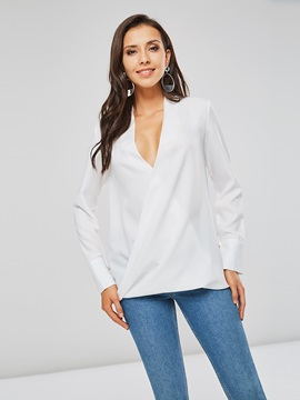 OL Plain V-Neck Pleated Women's Blouse