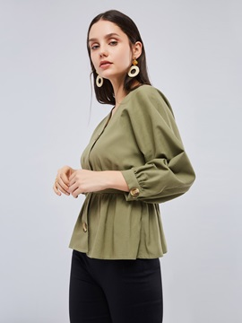 Olive Green Lantern Sleeve Women's Blouse