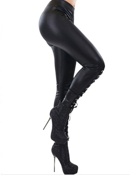 Halloween Costume Black PU Lace-Up Thin Women's Leggings