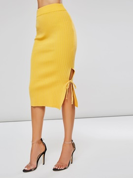 Plain Knitted Split Pleated Women's Bodycon Skirt
