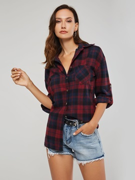Plaid Button Up Loose Women's Shirt