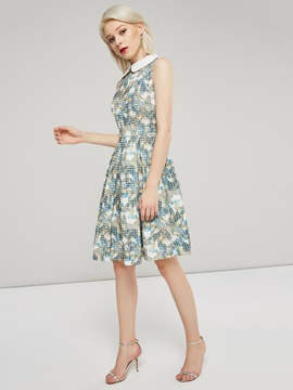 Peter Pan Collar Print Geometric Women's Skater Dress